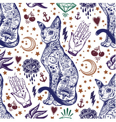 vintage cat traditional tattoo seamless pattern vector image