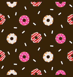 Donut pink glazed seamless chocolate vector