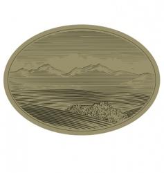 woodcut mountain scene vector image