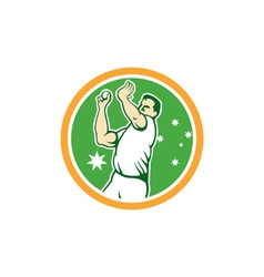 Australian cricket fast bowler bowling ball circle vector