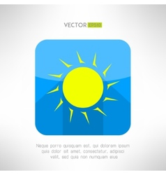 Bright yellow sun icon in modern flat design nice vector