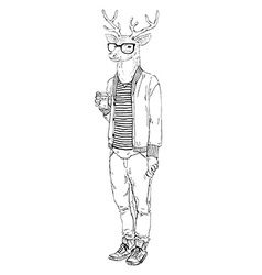 Fashion animal deer hipster drinking coffee vector