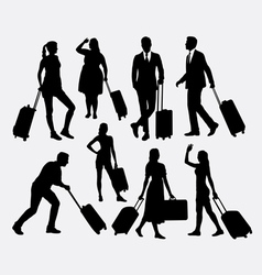 People male and female traveling silhouettes vector