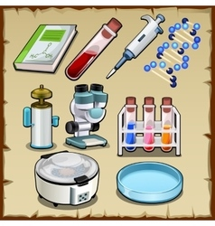 Items from the science lab tube device and other vector