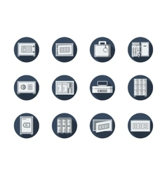 Safe box and locker round blue flat icons vector