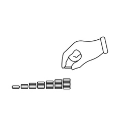 Hand put coins to stack of coins icon vector