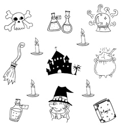 Castle and witch element halloween doodle vector