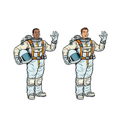 African and caucasian astronauts in spacesuits vector