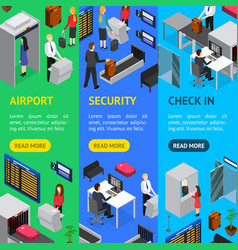 airport security check-in banner vecrtical set vector image