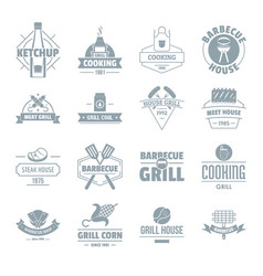 Barbecue grill logo icons set simple style vector