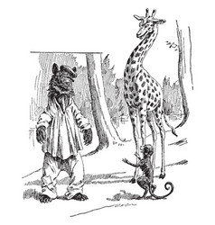 bear giraffe monkey vintage vector image