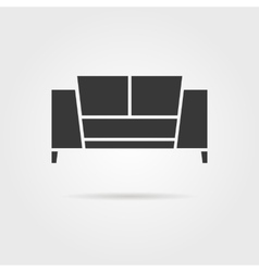 black sofa icon with shadow vector image vector image
