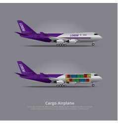 cargo ship airplane isolated vector image vector image