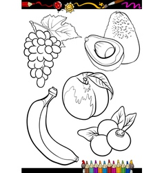 cartoon fruits set for coloring book vector image