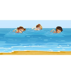 Children swimming in the ocean vector image vector image