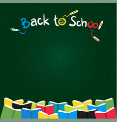 Colorful back to school green chalk board vector