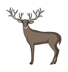 deer with big hornsanimals single icon in cartoon vector image