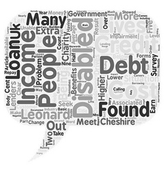 Disabled in debt text background wordcloud concept vector