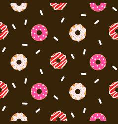 donut pink glazed seamless chocolate vector image