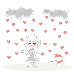 doodle girl with umbrella under rain of hearts vector image