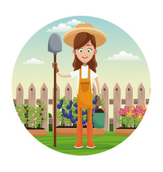 Farmer girl straw hat shovel garden fence vector