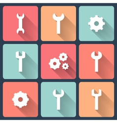 Gear and wrench flat icons set vector image vector image