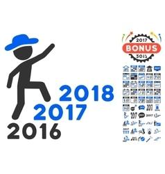 Gentleman steps years icon with 2017 year bonus vector