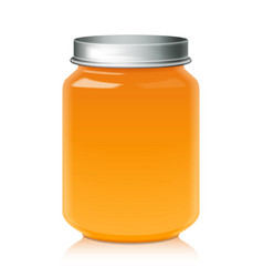 Glass jar for honey jam jelly or baby food puree vector