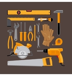 Hand tools icons in flat style vector