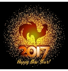 Happy New Year 2017 background with gold shiny vector image vector image