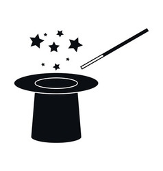 Hat and Magic Wand Icon vector image vector image