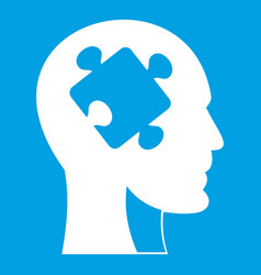 Head with puzzle icon white vector