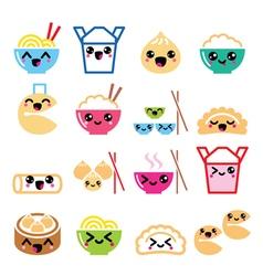 Kawaii chinese take away food characters vector