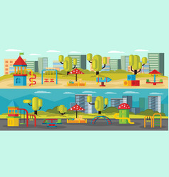 Kids playground horizontal banners vector