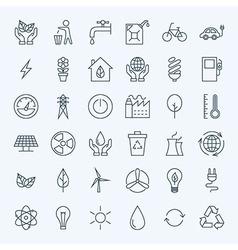 Line Green Energy Eco Icons Set vector image