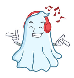 listening music cute ghost character cartoon vector image vector image