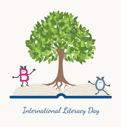 literacy day concept tree book letter characters vector image vector image
