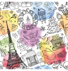 Paris winterchristmas seamless patternWatercolor vector image vector image