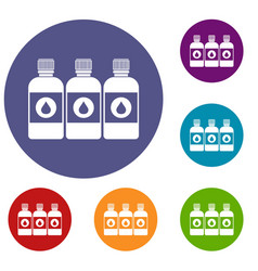 printer ink bottles icons set vector image vector image