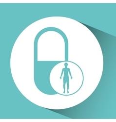 Silhouette person medical capsule icon design vector