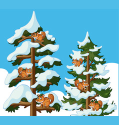 squirrels climbing tree in winter vector image