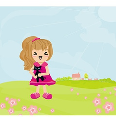 Sweet girl and her cat on rural landscape vector