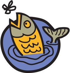 Trout eating a fly vector image