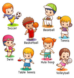 Vocabulary sport character vector