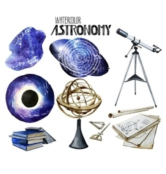 Watercolor astronomy collection vector