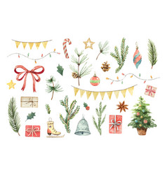 Watercolor christmas set with fir branches vector
