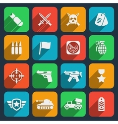 Weapons and ammunition icons vector