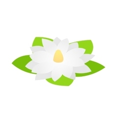 White lotus flower icon isometric 3d style vector image vector image