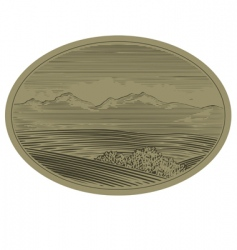 Woodcut mountain scene vector