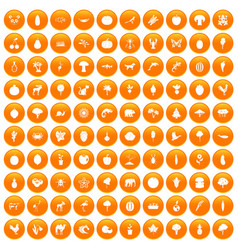 100 live nature icons set orange vector